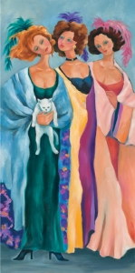 Ladies in Long Dresses and a Cat